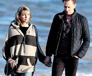 Taylor Swift, tom hiddleston, and beach image