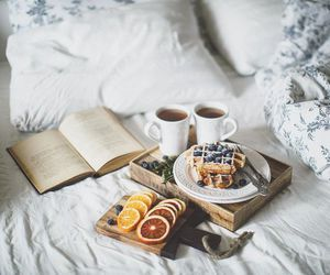 breakfast, book, and food image