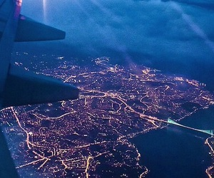 airplane, Flying, and lights image