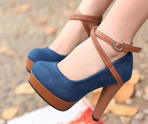 blue, brown, and high heels image