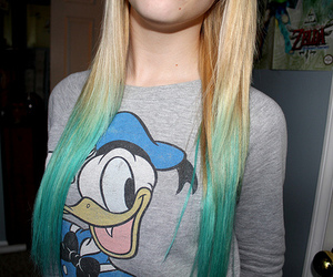 blue hair, donald duck, and photography image