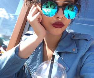 girl, sunglasses, and blue image