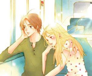 anime, boy, and train image