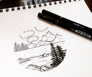 drawing, landscape, and pencil image