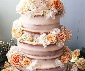 cake, floral, and wedding image