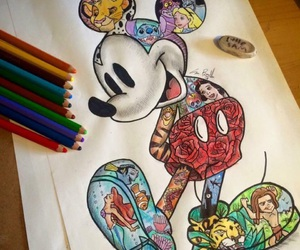 disney, art, and mickey mouse image