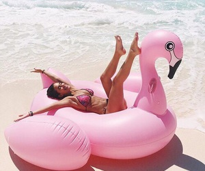 girl, pink, and beach image