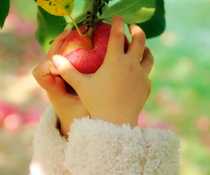 apple, black and white, and child image