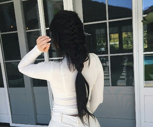 white pants, kylie jenner, and white mesh turtleneck image