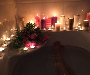 candle, bath, and home image