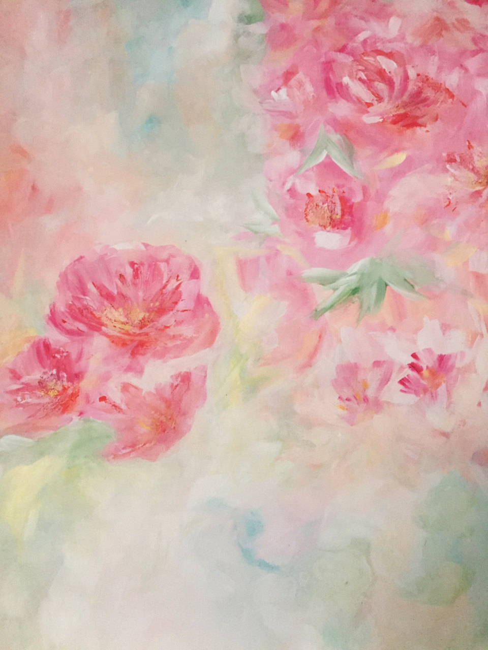 Pink flowers acrylic painting abstract on canvas rose quartz pink flowers acrylic painting abstract on canvas rose quartz peonies pastel floral art wall art canvas pretty decor girls room mightylinksfo