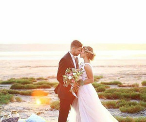 beach, beautiful, and bride image