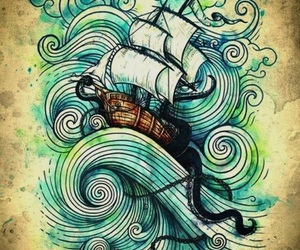 art, ship, and drawing image