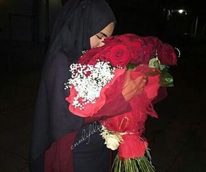 flowers, hijab, and voilée image