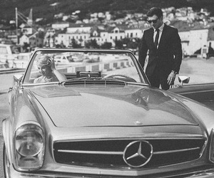 black and white, car, and couple image