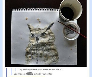 funny, coffee, and owl image