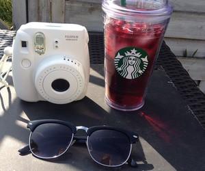 starbucks, sunglasses, and polaroid image
