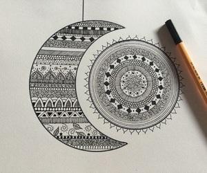draw, mandala, and moon image