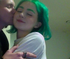couple, green, and kiss image