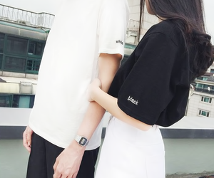 couple, black, and white image