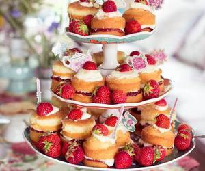strawberry, sweet, and cake image
