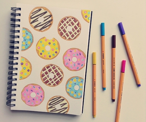 art, donuts, and drawing image