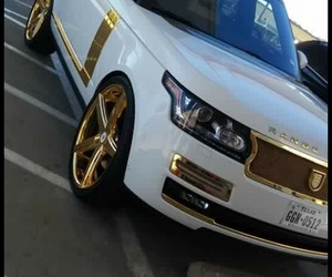 range rover, white, and gold image