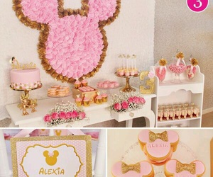 baby girl, minnie mouse, and party image