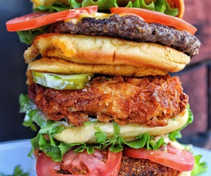 avocado, beans, and burgers image