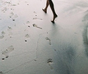 foot prints, beach, and girl image