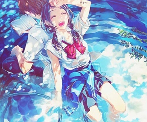 anime, couple, and water image