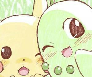 pikachu, pokemon, and chikorita image