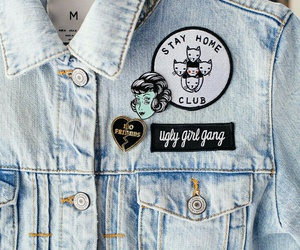 jaqueta, jeans, and patch image