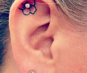 tattoo, flowers, and piercing image