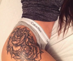 rose, tattoo, and thigh image