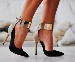 black, heels, and gold image
