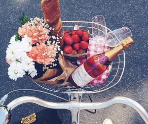 flowers, food, and bike image