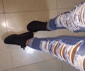 jeans, ripped, and shoes image