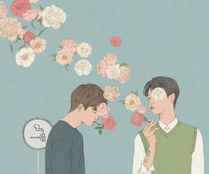 art, flowers, and boys image