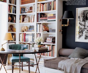bookcase, office, and decor image