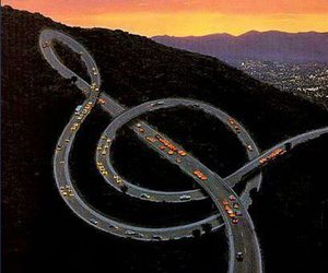music, road, and car image