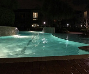 pool, night, and dark image