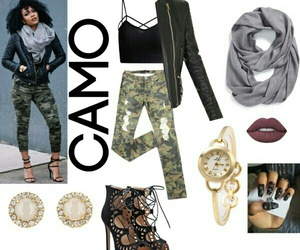camo, gold, and scarf image