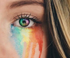 rainbow, eyes, and colors image