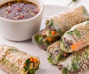 tofu, spring roll, and vegetables image