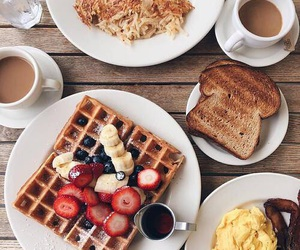 breakfast, waffles, and coffee image