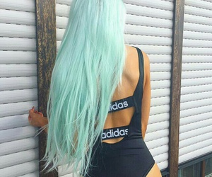 hair, adidas, and blue image