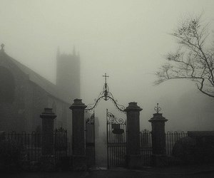 black and white, dark, and cemetery image