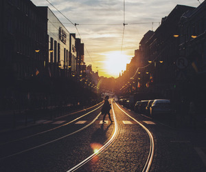 sunset and city image