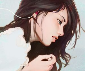 anime, girl, and headphones image